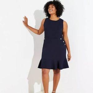 NWT Ann Taylor Loft Plus Navy Flounce Hem Dress